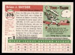 2004 Topps Heritage #376  Brian Snyder  Back Thumbnail