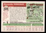 2004 Topps Heritage #325  Alex Gonzalez  Back Thumbnail