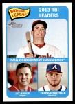 2014 Topps Heritage #6   -  Freddie Freeman / Jay Bruce / Paul Goldschmidt NL RBI Leaders Front Thumbnail