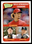 2014 Topps Heritage #11   -  Chris Sale / Yu Darvish / Max Scherzer AL Strikeout Leaders Front Thumbnail