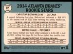 2014 Topps Heritage #82   -  Christian Bethancourt / David Hale Braves Rookies Back Thumbnail