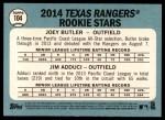 2014 Topps Heritage #104   -  Joey Butler / Jim Adduci Rangers Rookies Back Thumbnail