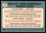 2014 Topps Heritage #116   -  Kolten Wong / Audry Perez Cardinals Rookies Back Thumbnail