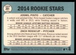 2014 Topps Heritage #201   -  Zach Rosscup / Josmil Pinto Rookies Back Thumbnail