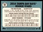 2014 Topps Heritage #259   -  Tim Beckham / Enny Romero Devil Rays Rookies Back Thumbnail