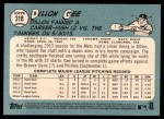 2014 Topps Heritage #318  Dillon Gee  Back Thumbnail