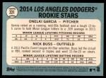 2014 Topps Heritage #331   -  Onelki Garcia / Nick Buss Dodgers Rookies Back Thumbnail