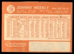 1964 Topps #256  Johnny Weekly  Back Thumbnail