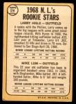 1968 Topps #579   -   Larry Hisle / Mike Lum NL Rookies Back Thumbnail