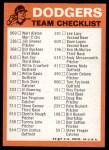 1973 Topps Blue Checklist   Dodgers Back Thumbnail