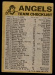 1974 Topps Red Checklist   Angels Red Team Checklist Back Thumbnail