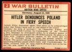 1965 Philadelphia War Bulletin #2   Heil Hitler! Back Thumbnail