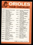 1973 Topps Blue Checklist   Orioles Back Thumbnail