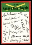 1974 Topps Red Checklist   Royals Red Team Checklist Front Thumbnail