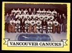 1973 Topps #107   Canucks Team Front Thumbnail