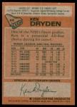 1978 Topps #50  Ken Dryden  Back Thumbnail