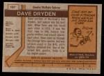 1973 Topps #187  Dave Dryden   Back Thumbnail