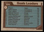 1977 Topps #1   -  Steve Shutt / Guy LaFleur / Marcel Dionne NHL Goals Leaders Back Thumbnail