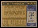 1971 Topps #79  Billy Cunningham   Back Thumbnail