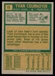 1971 Topps #15  Yvan Cournoyer  Back Thumbnail