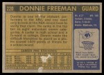 1971 Topps #220  Donnie Freeman  Back Thumbnail