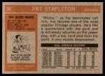 1972 Topps #70  Pat Stapleton  Back Thumbnail