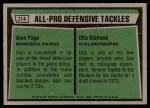 1975 Topps #214   -  Alan Page / Otis Sistrunk All-Pro Defensive Tackles Back Thumbnail