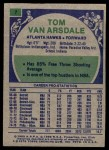 1975 Topps #7  Tom Van Arsdale  Back Thumbnail