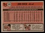 1981 Topps #500  Jim Rice  Back Thumbnail