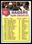 1973 Topps  Checklist   -      Raiders Front Thumbnail