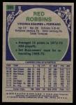 1975 Topps #295  Red Robbins  Back Thumbnail