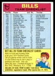 1974 Topps  Checklist   Buffalo Bills Team Front Thumbnail