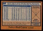 1978 Topps #580  Rod Carew  Back Thumbnail