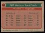 1973 Topps #202   ABA West Semi-Finals Back Thumbnail