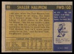 1971 Topps #89  Shaler Halimon   Back Thumbnail