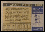 1971 Topps #179  George Peeples  Back Thumbnail