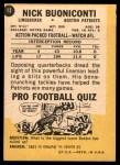 1967 Topps #13  Nick Buoniconti  Back Thumbnail