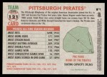 2005 Topps Heritage #121   Pittsburgh Pirates Team Back Thumbnail