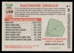 2005 Topps Heritage #100   Baltimore Orioles Team Back Thumbnail