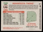 2005 Topps Heritage #146   Minnesota Twins Team Back Thumbnail