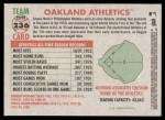 2005 Topps Heritage #236   Oakland Athletics Team Back Thumbnail