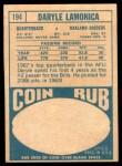 1968 Topps #194  Daryle Lamonica  Back Thumbnail