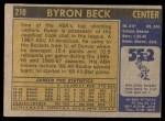 1971 Topps #210  Byron Beck  Back Thumbnail