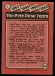 1986 Topps #2   -  Pete Rose Rose Special: 63-66 Back Thumbnail
