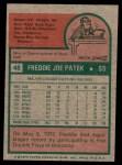 1975 Topps Mini #48  Fred Patek  Back Thumbnail