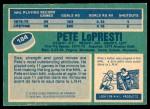 1976 O-Pee-Chee NHL #184  Pete Lopresti  Back Thumbnail