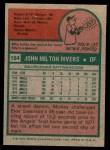 1975 Topps Mini #164  Mickey Rivers  Back Thumbnail