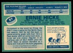 1976 O-Pee-Chee NHL #87  Ernie Hicke  Back Thumbnail