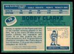 1976 O-Pee-Chee NHL #70  Bobby Clarke  Back Thumbnail