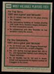 1975 Topps Mini #189   -  Yogi Berra / Roy Campanella 1951 MVPs Back Thumbnail